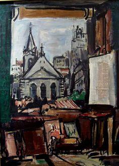 """Jonio Montiel """"Desde el estudio"""" Óleo sobre tela 74 X 54 cms.  http://www.portondesanpedro.com/ver-producto.php?id=8587"""