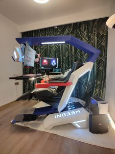 Ingrem Multifunction Gaming Workstation Zero Gravity Emperor Chair owlet S Gaming Desk Chair, Gaming Lounge, Gaming Room Setup, Computer Station, Gaming Station, Computer Setup, Gamer Bedroom, Art Studio At Home, Custom Pc