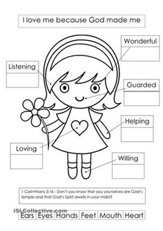 Printed God made me worksheet - Free ESL printable worksheets made by teachers