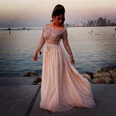 2014 Distinctive Crystal Beaded Prom Dresses Sheer Bateau Neck Long Sleeves A-Line Chapel Train Chiffon Evening Gowns Celebrity Dress