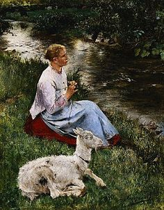 The Young Shepherdess by Evariste Carpentier. More like Goat Herd.