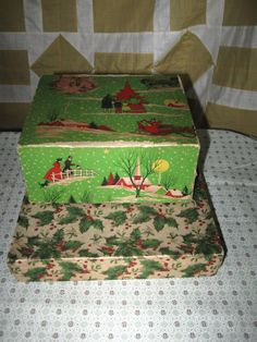 2 Antique Christmas Gift Boxes Holly Berries Christmas Scene   eBay