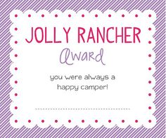 Sugar Fresh: Young Women Girls Camp Awards: Free Printables | huge selection of candy inspired awards