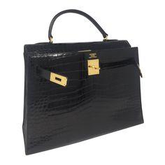 7692e12455c6 Sacs à main Hermès Kelly Cuirs exotiques Noir ref.86566 - Joli Closet