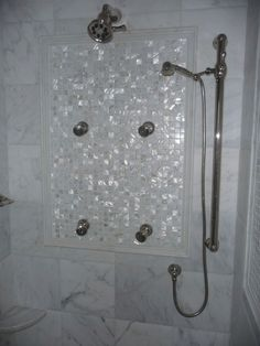 Love the mother of pearl tiles. Would be kinda like having a ...