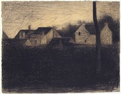 Georges Seurat Landscape with Houses (French, Paris 1859–1891 Paris) Date: 1881–82 Medium: Conté crayon Dimensions: 9 13/16 x 12 9/16 in. (24.9 x 31.9 cm) Classification: Drawings Credit Line: Bequest of Walter C. Baker, 1971 Accession Number: 1972.118.234