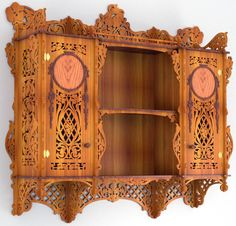 Cabinet bookcase, scroll saw fretwork pattern