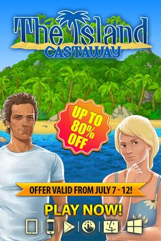Adventurous Summer SALE!  Ready to dive into a vivid adventure? Download The Island: Castaway®, an addictive simulation game, at up to 80% off through July 12th on ALL platforms! Learn to fish, hunt for wild boars, catch snakes and find rare plants. Explore the enigmatic island to find clues, solve over 200 diverse quests and decrypt ancient writings. Add a tropical twist to your summer today!   Learn more: http://www.g5e.com/sale