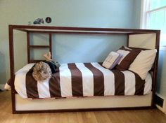 """Previous pinner wrote: """"Kura Bed Redo with Annie Sloan Chalk Paint in Primer Red & Old White (yes, you really can use it with no priming... even on Ikea furniture!)"""""""