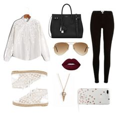 """""""No, Thanks! I'm Fine with My Eyelets!!"""" by psychopathparanormal ❤ liked on Polyvore featuring River Island, WithChic, Yves Saint Laurent, Chanel, Kate Spade, Ray-Ban and Marc Jacobs"""