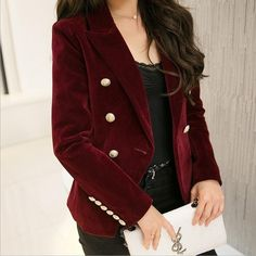 M-2XL plus size 2017 autumn female Korean Slim was thin velvet leisure suit solid color double-breasted jacket w1085 #other #blazers #women_clothing #stylish_blazers #style #fashion