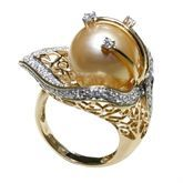 18K Yellow Gold, Golden Southsea Pearl, Diamond Ring - 7765R from Dewcarat Limited