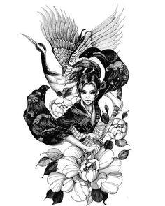 Geisha Tattoos, Geisha Tattoo Design, Irezumi Tattoos, Tebori Tattoo, Japanese Tattoo Art, Japanese Tattoo Designs, Japanese Sleeve Tattoos, Japanese Art, Japanese Prints