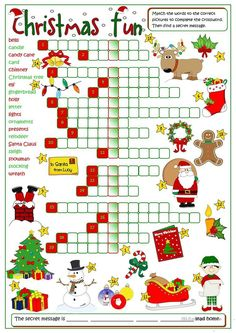 Christmas Worksheets for Kids Christmas Fun Crossword English Esl Worksheets for Holiday Games, Christmas Party Games, Christmas Activities, Christmas Traditions, Holiday Fun, Christmas Holidays, Xmas, Merry Christmas, Christmas Worksheets Kindergarten