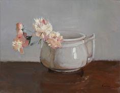 Pink Peonies in Grey Pot by Maryann Lucas