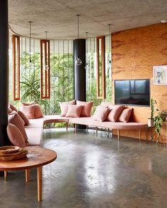 blush-toned sofa