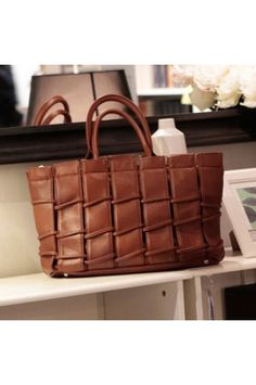 $29.99 Fashion Brown Faux Leather Pure Color Handbag @MayKool