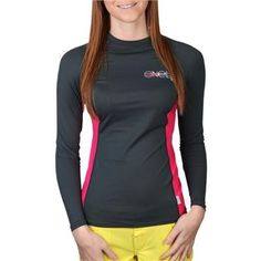 O`neill Skins Women`s Long Sleeve Crew - Graphite/Watermelon - X-Small $29.95
