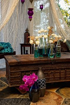 Bohemian outdoor party setting.