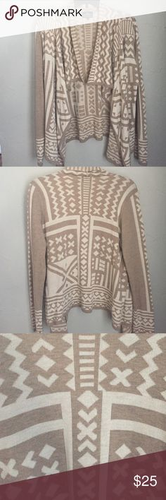 Geoprint drape sweater The softest sweater! Cream and taupe-this sweater is perfect for layering this fall! Angie Sweaters Cardigans