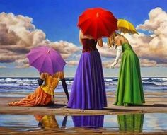 Paul Kelley's sensual art has a romantic appeal, from his figurative painting, fashion artwork, and nude art prints, to his dance artwork and Nova Scotia art. Umbrella Art, Under My Umbrella, Paul Kelly, Creation Photo, Fashion Artwork, Beauty In Art, Realistic Paintings, Beautiful Gif, Animation