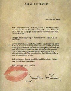 Lettera d'amore di Jackie Jennedy a JFK il giorno dell'assassinio.