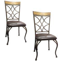 Sierra Vinyl Dark Brown Metal/Wood Side Chairs (Set of 2)