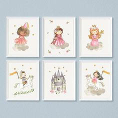Princess wall art Set of 6 Princess themed nursery image 0 Nursery Themes, Nursery Prints, Nursery Art, Themed Nursery, Theme Bedrooms, Nursery Ideas, Banners, Dragon Nursery, Princess Wall Art