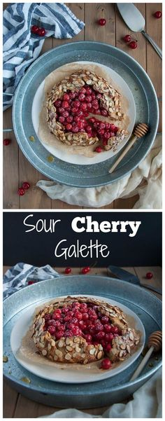n this tasty sour cherry galette, tart cherries and heart healthy almonds come together in a nutritious whole wheat and almond flour crust for a perfect healthy desert. - Feasting Not Fasting
