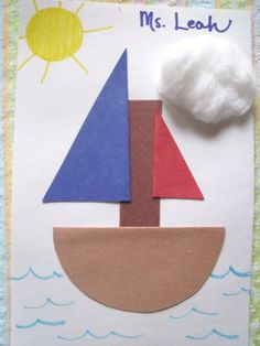 CRAFT: Halves Boat. Cut out shapes and have students fold them in half before gluing down to make sailboats. Toddler Art, Toddler Crafts, Crafts For Kids, Arts And Crafts, Toddler Storytime, Boat Crafts, Summer Crafts, Water Crafts, Truck Crafts
