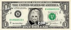 DOLLY PARTON - Real Dollar Bill Cash Money Collectible Memorabilia Celebrity Novelty Bank Note by Vincent-the-Artist, $7.77 USD