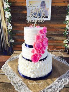 Navy and pink wedding cake  #HappyBakingAZ #CustomCakesAZ #WeddingCakesAZ #NavyAndPinkWeddingCake