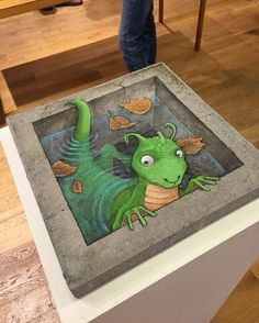 David Zinn · September 21, 2015 · A rare experiment in non-ephemeral anamorphic art: acrylic on found paving stone. Created for the pop-up gallery exhibition at No Limit Borås and purchased on site . . . which is lucky, because the shipping costs to anyone farther away would have been monstrous.