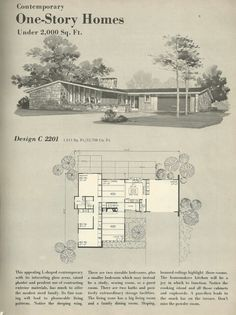 Vintage House Plans, homes, mid century homes. Love seeing these vintage plans! Modern Floor Plans, House Floor Plans, Midcentury Modern House Plans, Mid Century Modern Design, Modern House Design, Mison, Mid-century Modern, Plan Image, Mcm House