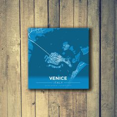 Gallery Wrapped Map Canvas of Venice Italy - Modern Blue Contrast - Venice Map Art