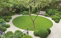 If the tree was in the centre of the circle of lawn, this design wouldn't work. Design by Del Buono Gazerwitz Landscape Architecture Circular Garden Design, Circular Lawn, Modern Garden Design, Contemporary Landscape, Patio Design, Contemporary Office, Contemporary Cottage, Contemporary Bedroom, Contemporary Building