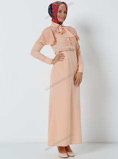 Dantel Pançollu Yarım Patlı Elbise 7566 - Somon - Tuncay