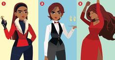 These are Carmen's new outfits from the interactive special Carmen Sandiego, San Diego, Character Art, Character Design, Imagenes My Little Pony, Divas, Cosplay, Movies Showing, Disney Art