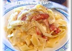 Easy Rich Pasta Carbonara with Milk and Whole Egg Recipe -  Very Delicious. You must try this recipe!