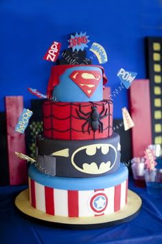 Superhero cake captain america superman spiderman batman birthday party