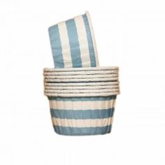 Forminhas para Cupcake Forneáveis Azul Claro Listradas 20 uni