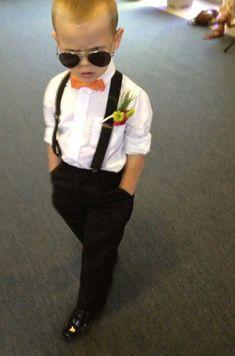 Stud! Ring bearer with suspenders!