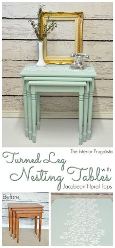 Pretty painted nesting tables with stencil makeover