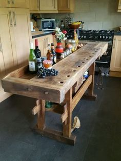 trendy ideas for kitchen table bar butcher blocks Rustic Kitchen Design, Kitchen Layout, New Kitchen, Kitchen Decor, Kitchen Industrial, Kitchen Ideas, Industrial Table, Rustic Design, Kitchen Art