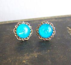 Turquoise Earrings Blue Wedding Jewelry Aqua Gold Earrings by Jewelsalem on Etsy, $25.00