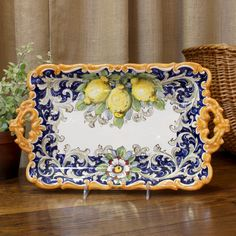 """Limoni"" Lemons Pattern Italian Ceramic Tray with Two Handles from Fatto a Mano Antiques"