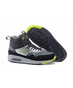 Women s Nike Air Max 1 Mid Sneakerboot LB QS Boots Black Silver Lime Sale 59b3ea76f3