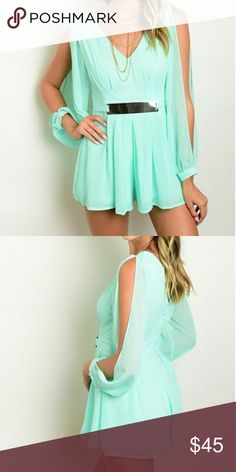 Mint Green Slit Sleeve Chiffon Romper GORGEOUS SPRING ROMPER   FEATURES:  - V Neckline - Long slit sheer blouson sleeves - Flounce shorts - Gold belted waist - Exposed V back - 100% Polyester (Chiffon) Pants Jumpsuits & Rompers