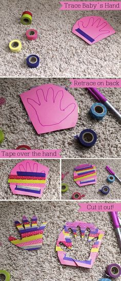 Washi Tape Hand Print!  Super easy craft for toddlers! not sure how youre supposed to see the outline through the tape but fun none the less