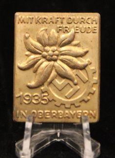 Mit Kraft durch Freude 1935 in Oberbayern_obverse_value $55 US in 2018___ADV__Source: Winterhilfswerk.com Charitable Donations, Pin Badges, Third, Ss, German Language, Joy